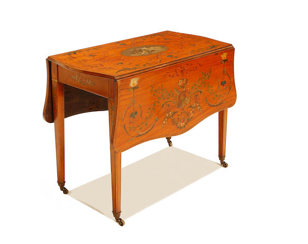 An Edwardian satinwood, rosewood crossbanded and polychrome painted Pembroke table in the Sheraton revival style
