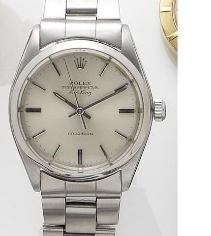 Rolex. A stainless steel automatic bracelet watch Airking, Ref:1002, Serial No. 1054334, 1950's