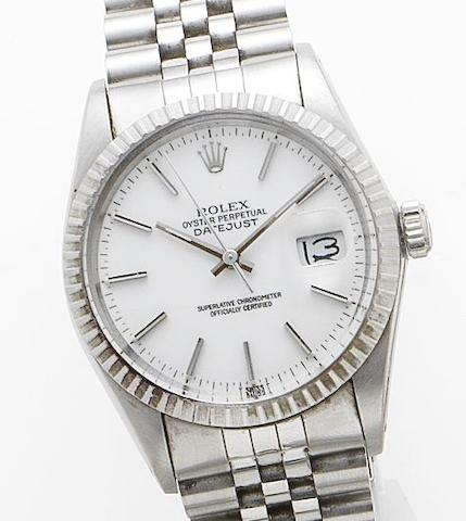 Rolex. A stainless steel automatic calendar wristwatch together with box and papersRef: 16000, Serial No. 9080142, Sold 1986