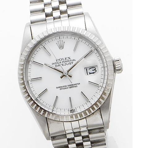 Rolex. A stainless steel automatic calendar wristwatch together with box and papers Ref: 16000, Serial No. 9080142, Sold 1986
