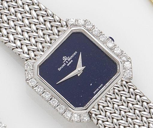 Baume & Mercier. An 18ct white gold and diamond set bracelet watch