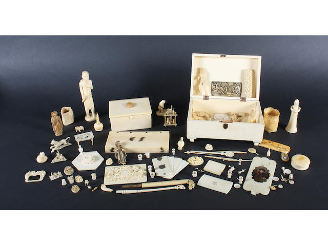 A collection of ivory items, mostly carved, European and Asian, 19th/early 20th century