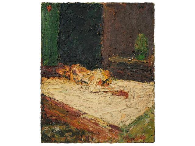 Frank Auerbach (British, born 1931) E.O.W., Nude on Bed 77.5 x 61 cm. (30 1/2 x 24 in.)