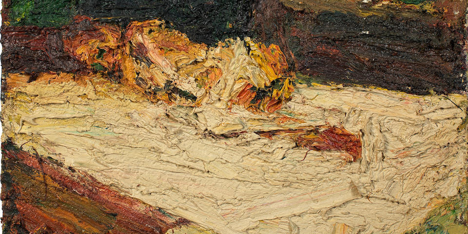 Frank Auerbach (British, born 1931) E.O.W., Nude on Bed 77.5 x 61 cm. (30 1/2 x 24 in.)