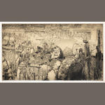 MENPES (MORTIMER) The Delhi Durbar, State Entry, [1903]; and 16 other etchings by Menpes, Bauer and others (17)