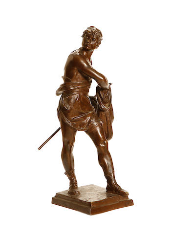 Eugène Marioton, French (1857-1933) A bronze model of a fisherman