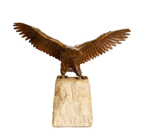 A 20th century bronze model of an eagle
