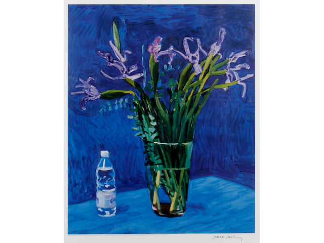 David Hockney R.A. (British, born 1937) Iris with Evian Bottle Offset lithograph printed in colours, 1998, on wove, signed in blank ink, with full margins, 698 x 552mm (27 1/2 x 21 1/2 in)(I)