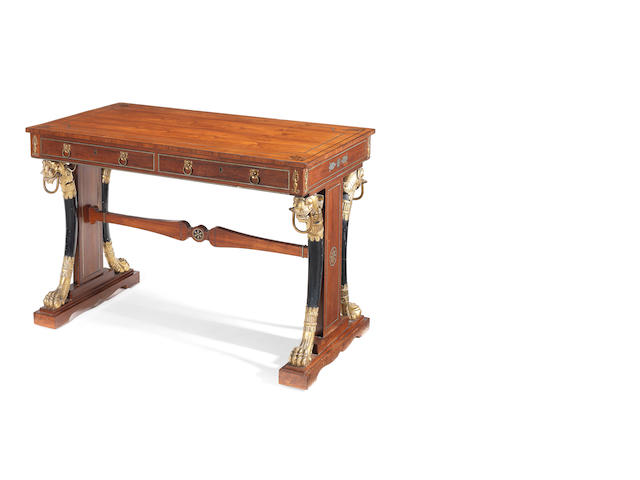 Regency rosewood and brass inlaid Library table