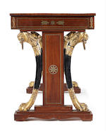 Regency tulipwood, gilt-brass mounted and silver inlaid library table in the manner of Thomas Hope, the manufacture possibly by George Oakley
