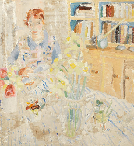 Winifred Nicholson (British, 1893-1981) Amy in the Kitchen at Banks Head 61 x 56 cm. (24 x 22 in.)