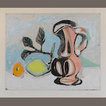 Pablo Picasso (Spanish, 1881-1973) Still life with pitcher and lemon Aquatint, c1960, printed in colours, on BFK Rives, signed and numbered 51/300 in pencil, published by Crommelynck, Paris, with their blindstamp, 303 x 401mm (11 7/8 x 15 5/8in)(PL) unframed