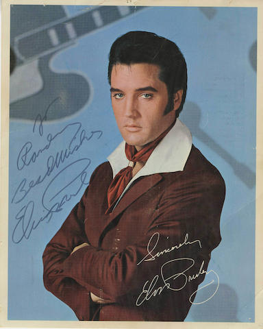 An autographed Elvis Presley RCA recording catalogue card, circa 1970,