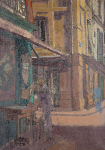 Walter Richard Sickert (Austrian, 1860-1942) A street in Dieppe 60 x 42 cm. (23 1/2 x 16 1/2 in)