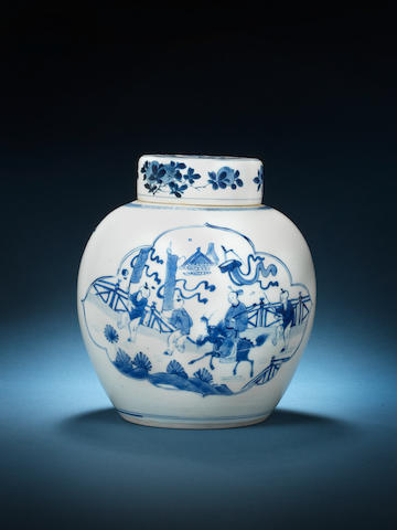 A blue and white jar and a cover Kangxi
