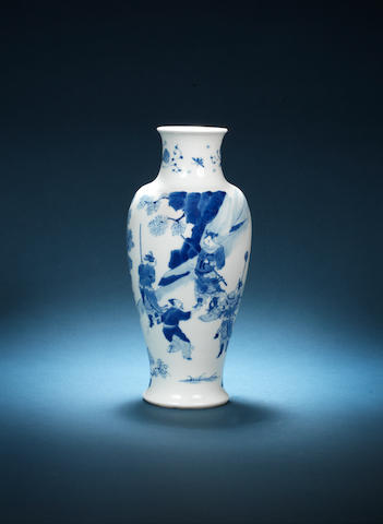 A blue and white baluster vase Chenghua six-charcter mark, Kangxi