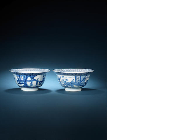 A pair of blue and white bowls Kangxi six-character marks and of the period