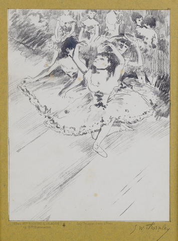 After Edgar Degas (French 1834-1917) Two lithographs from Quinze Lithographies 'Entree en scene', c.1888-89, by George William Thornley, printed in blue-green, on cream chine appliqué mounted on a greenish blue backing sheet, plus 'Répetition', printed in mauve black, on cream chine appliqué mounted on a greenish blue backing sheet, each from the edition of 100 (plus 25 proofs), with Thornley's lithographed signature, printed by Atelier Becquet, Paris, published by Boussod-Valadon, Paris, 255 x 152mm (10 x 6in)(I)  2 unframed