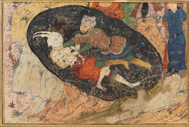 Three illustrated folio fragments from a dispersed manuscript of Firdausi's Shahnama, with four miniatures, two depicting Rustam enthroned; being received in audience; and killing the White Div in a dark pit Persia, commercial Turkman, circa 1480(3)
