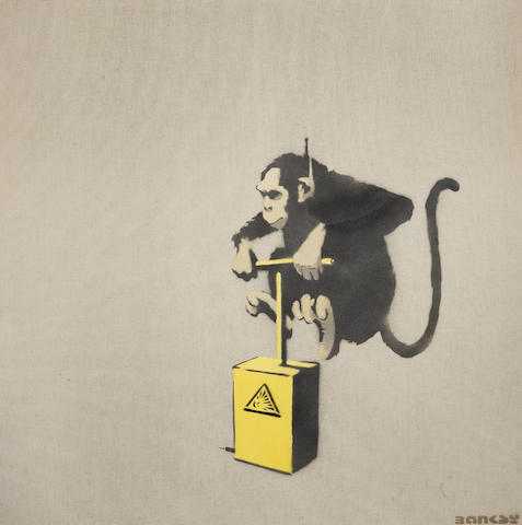 Banksy (b.1975) Monkey Detonator signed in stencil; signed in stencil and numbered 05/25 on the stretcher stencil spray paint on raw hessian 91 by 91 cm. 35 13/16 by 35 13/16 in. This work was executed in 2000.