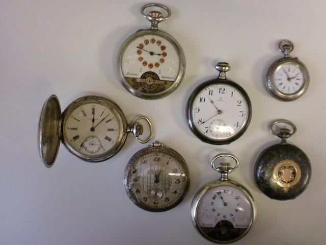 A lot of seven various silver pocket watches