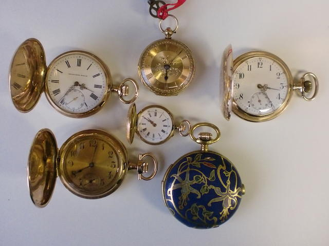 A lot of six various gold pocket watches