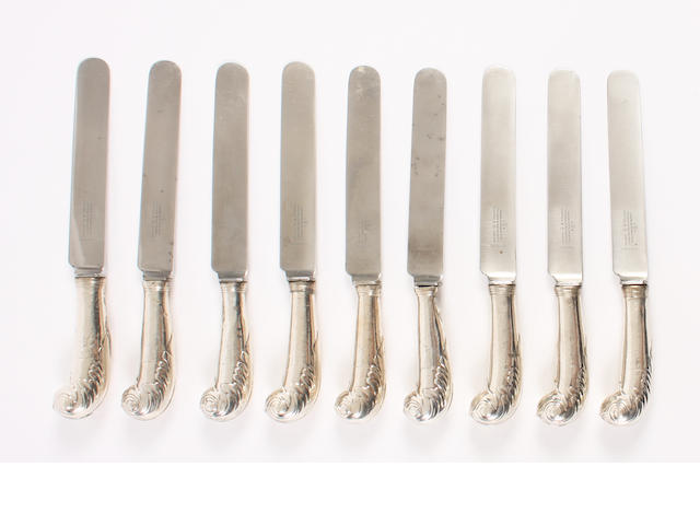 A set of nine silver  pistol handled knives with stainless steel blades Maker's mark A H, other hallmarks rubbed,  (9)