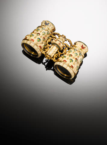 A pair of late 19th century French ivory, enamel and gold  opera glasses, designed by George Le Saché, possibly retailed by Tiffany & Co,