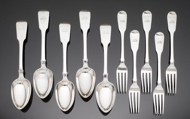 A matched silver part table service of fiddle pattern flatware, various makers and dates,  (Qty)
