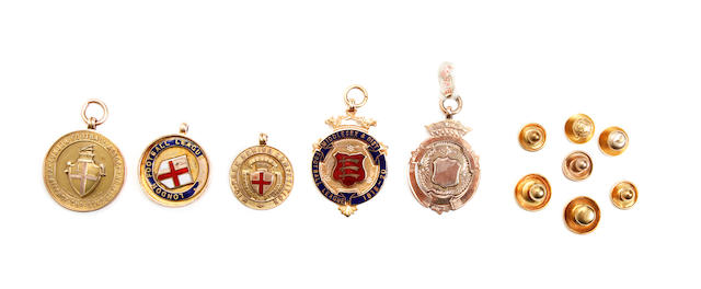 A collection of football medals