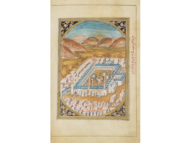 Al-Jazuli, Dala'il al-Khayrat wa Shawariq al-Anwar, prayers, illustrated with two coloured drawings depicting bird's-eye views of the Holy Shrines at Mecca and Medina, copied by Isma'il better known as Baghdadi, attached at end an ijazeh written by Hasan al-Zahri al-Misri, dated AH 1213/AD 1798-99 Ottoman Turkey, dated AH 1171/AD 1757-58