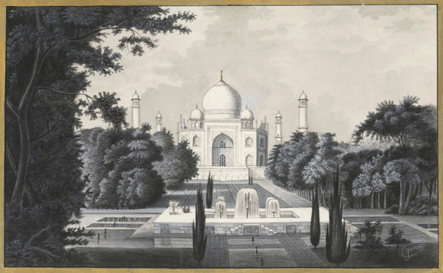 AGRA A View of the Taj Mahal, pen, ink and wash, [nineteenth century]; and a chromolithograph of the Taj Mahal (2)
