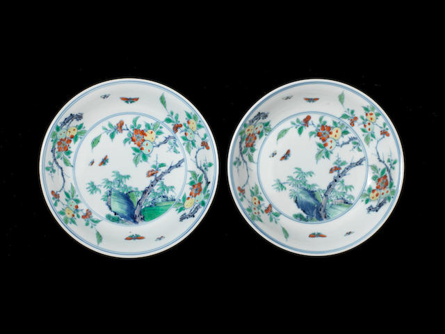 A pair of doucai saucer dishes Yongzheng six-character marks and of the period