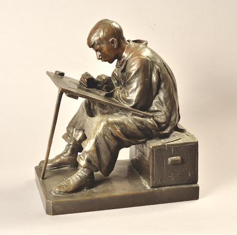 Anton van Wouw (South African, 1862-1945) 'The Art Student' 32cm (12 5/8in) high