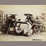 JAPAN FUKASAWA (TADASHI) A group of 13 portraits and views,[c.1901]; together with 20 other hand-coloured Japanese views (33)