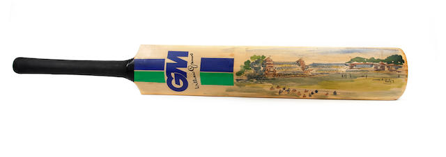 A cricket bat with an Ashley Jackson painting, hand signed by cricket legends
