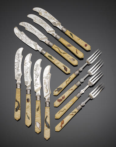"Twelve pairs of Victorian silver and Shibayama fish knives and forks, maker's mark ""F.E"" overstriking that of another, Birmingham 1882,  (12)"