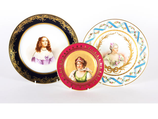 Two Sèvres-style plates and a small Vienna style plate, 19th century