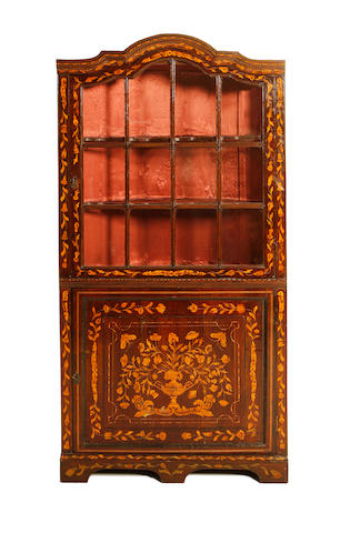 A Dutch 19th century walnut, ebony and fruitwood marquetry corner display cabinet