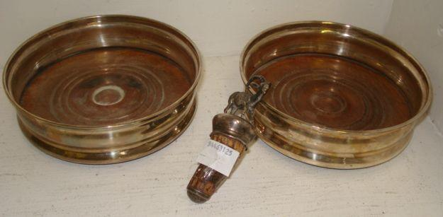 A pair of George III style circular silver coasters,  Asprey, 1964, with moulded rims and bulbous sides, 13.5cm, and a Victorian novelty bottle stopper surmounted by a ram. (3)