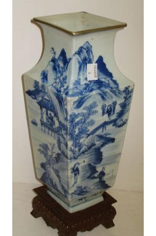 A Chinese late Qing Long section porcelain vase, painted in blue and white with a continuous scene of figures fishing in river landscapes, on a wooden stand, 32cm (2).