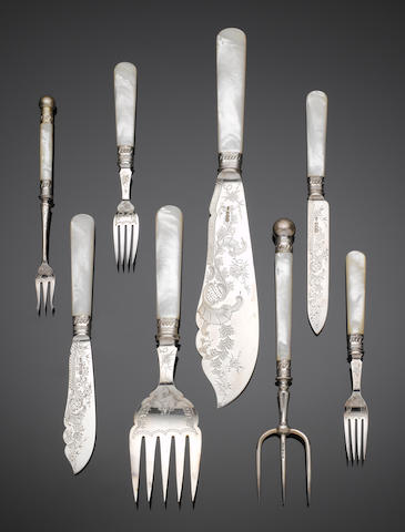 An extensive Victorian silver and mother of pearl handle fish and dessert service, by Charles William Fletcher, Sheffield 1899,