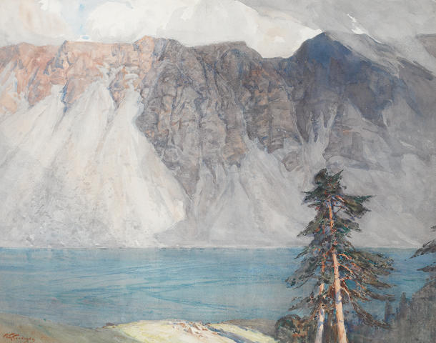 Robert Gwelo Goodman (South African, 1871-1939) Mountain scene with lake