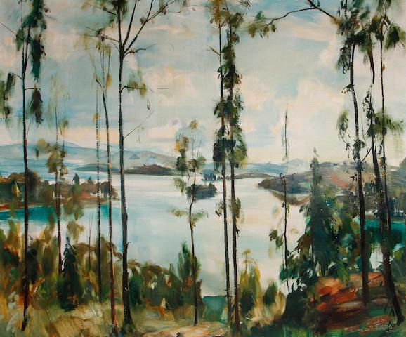 Clement Serneels (Belgian, 1912-1991) Congo landscape