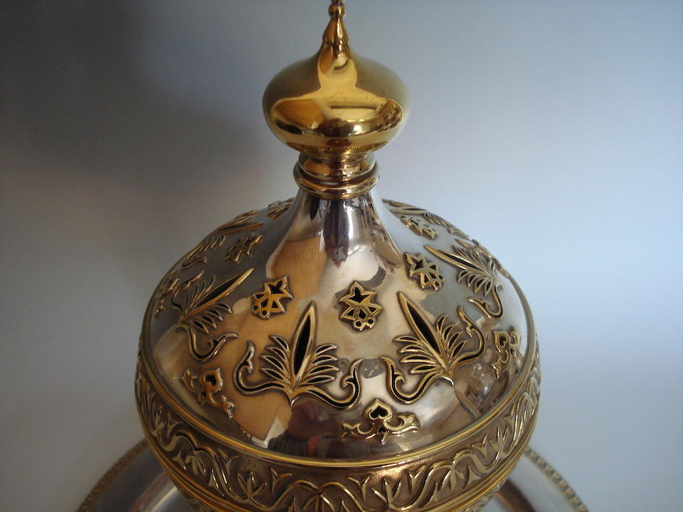 A silver, silver-gilt and 18 carat gold incense burner on stand, mark Ae, possibly for Argentum Europa, silver marks for London 1990, also with 925 silver common control mark, the base with removable ceramic liner, signed DANIEL LEHRER (Jewellers) LONDON 1991,