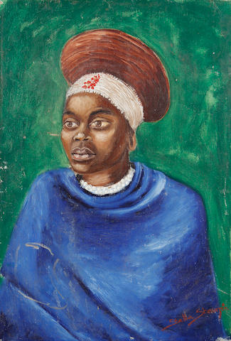 Stella Shawzin (South African, born 1923) Portrait of an African woman