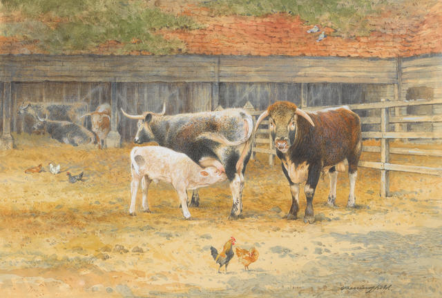 Gordon Beningfield (British, 1936-1998) Cattle