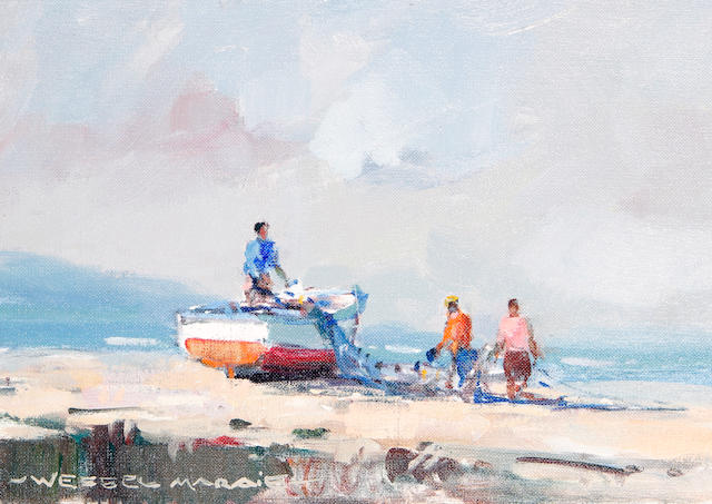 Wessel Marais (South African, born 1935) Fishermen on a beach