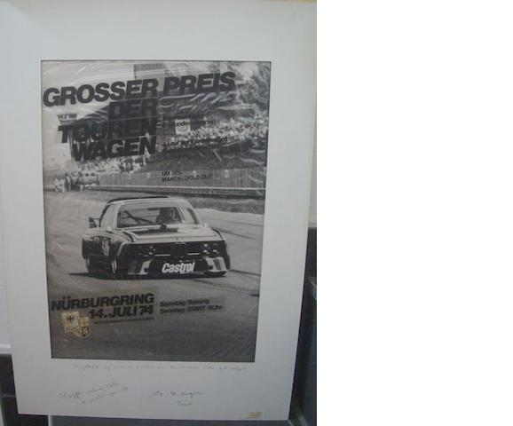 Original artwork layout for the 1974 ADAC Martini Gold Cup Grosser Preis der Touren Wagen race poster,