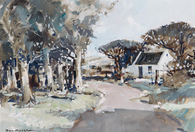 Don (Donald James) Madge (South African, 1920-1997) A cottage by a tree lined road
